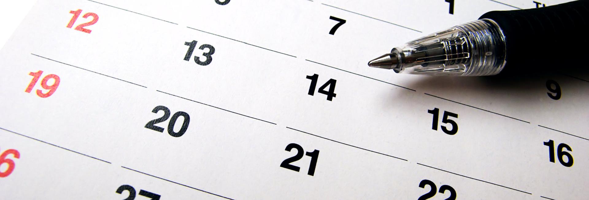 pen in a calendar
